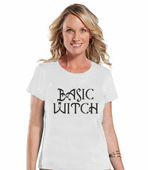7 ate 9 Apparel Womens Basic Witch Halloween T-shirt