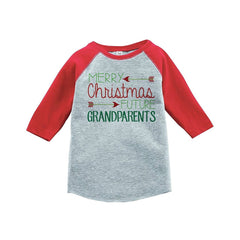 7 ate 9 Apparel Youth Future Grandparents Christmas Raglan Shirt Red