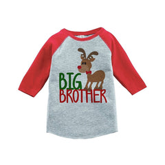 7 ate 9 Apparel Youth Big Brother Christmas Raglan Shirt Red