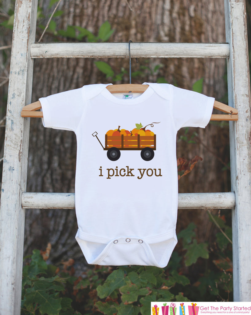 Kids Fall Pumpkin Outfit - Thanksgiving Shirt - Baby Novelty Onepiece - Fall Outfit for Baby Boy or Girl - I Pick You Thanksgiving Shirt
