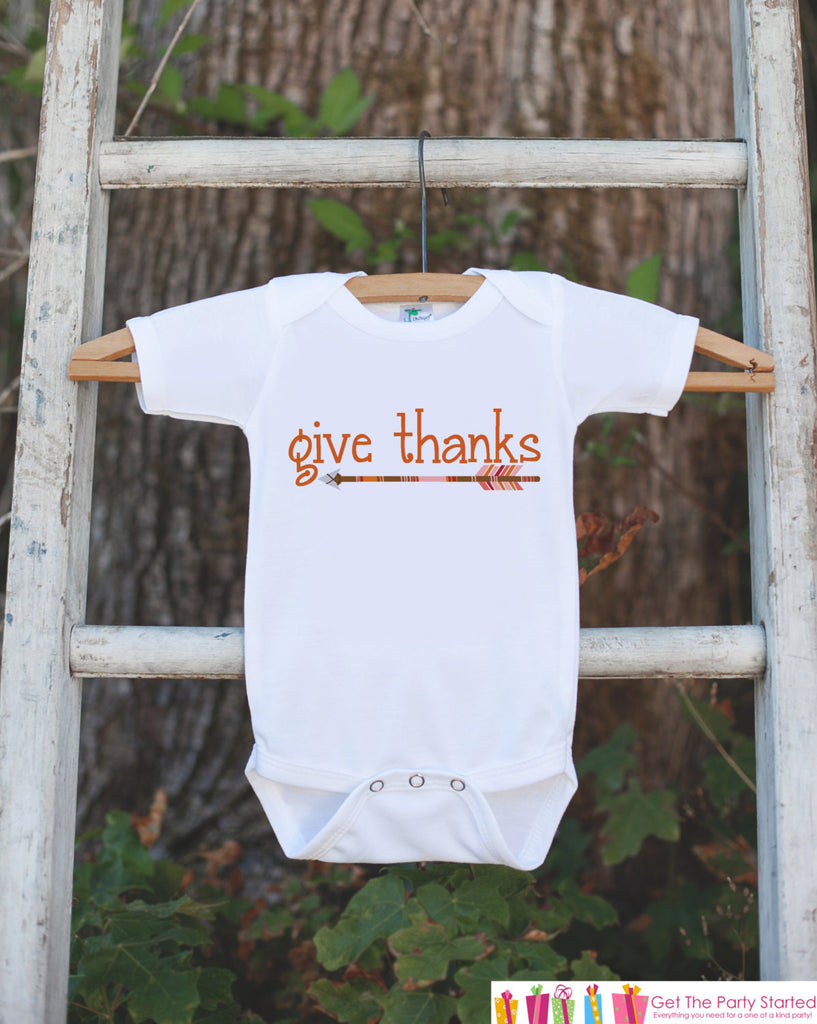 Kids Give Thanks Outfit - Thanksgiving Shirt - Kids Thankful Thanksgiving Shirt or Onepiece - Boy or Girl Orange Arrow Thanksgiving Outfit - 7 ate 9 Apparel