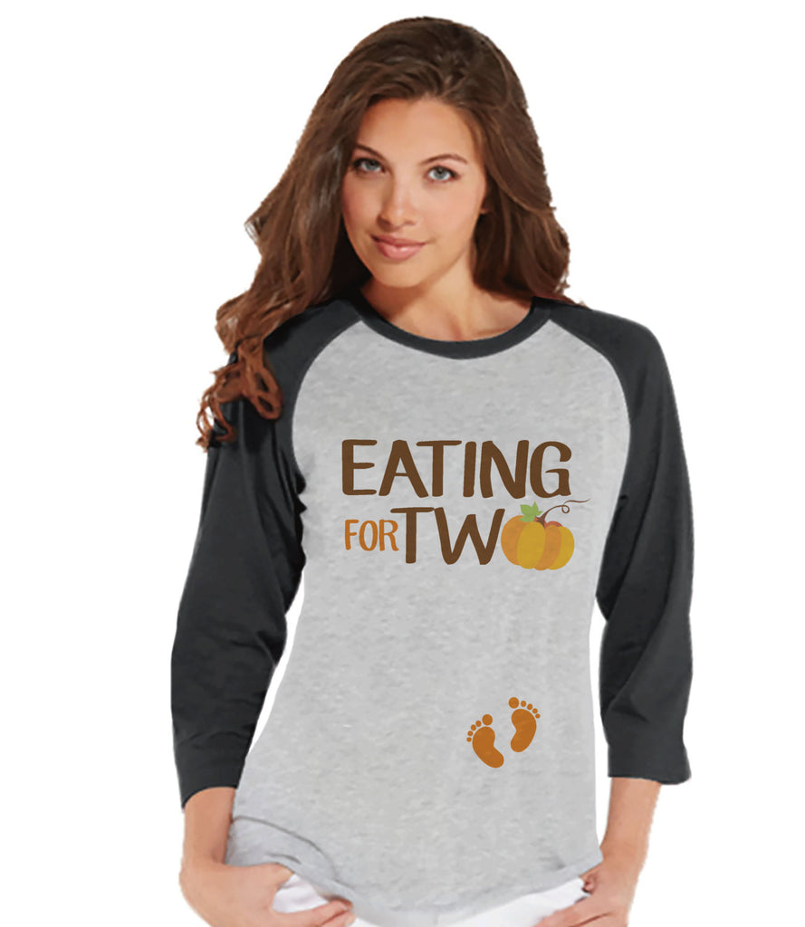 Thanksgiving Pregnancy Announcement - Eating For Two - Thanksgiving Pregnancy Reveal Tshirt - Grey Raglan - Pregnancy Reveal Shirt - 7 ate 9 Apparel