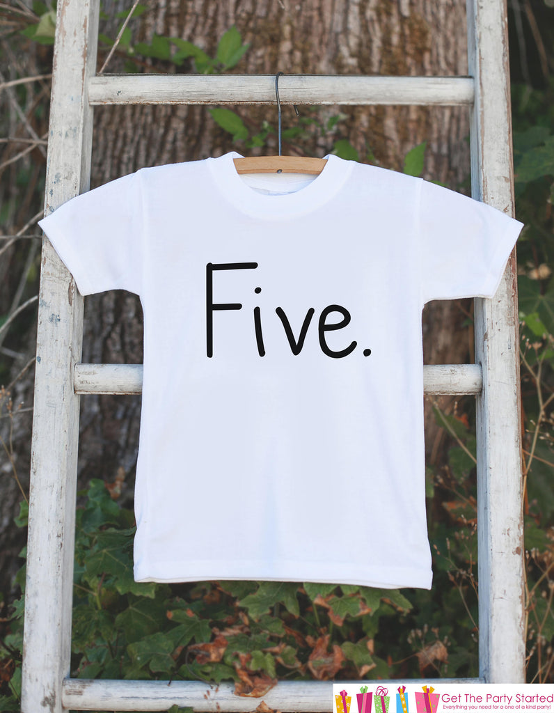Five Birthday Shirt - Kid's 5th Tshirt For Boys Birthday Party - Boys Fifth Birthday Outfit - 5 Year Old Birthday Party - Simple