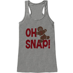 Women's Christmas Shirt - Oh Snap Gingerbread Man Shirt - Christmas Present - Family Christmas Pajamas - Grey Tank - Christmas Gift Idea