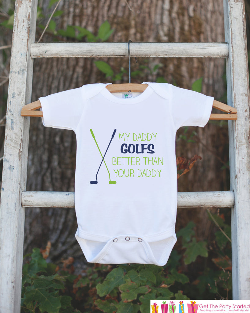 Funny Golf Bodysuit For Boy's - My Daddy Golfs Better Than Your Daddy Onepiece - Novelty Golf Outfit - Humerous Golf Onepiece for Baby Boy