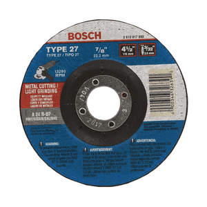 Bosch 326390 Type 27 Depressed Center Grinding Wheel, 4-1/2 in Dia