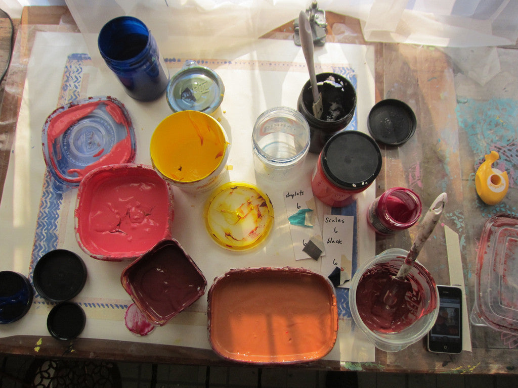 Behind the Scenes: Mixing ink colors!