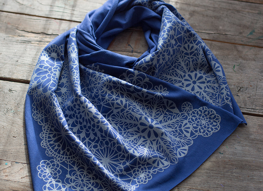 Lacy Blue and Silver Scarf