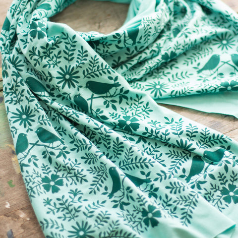 hand-printed scarf with teal birdwatching pattern, handmade in Maine by Morris and Essex