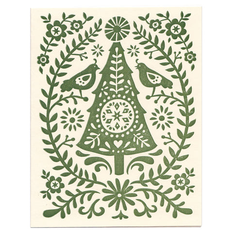 Christmas Tree holiday greeting card, blank inside