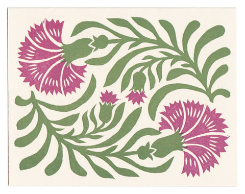 Dianthus linocut greeting card, blank inside