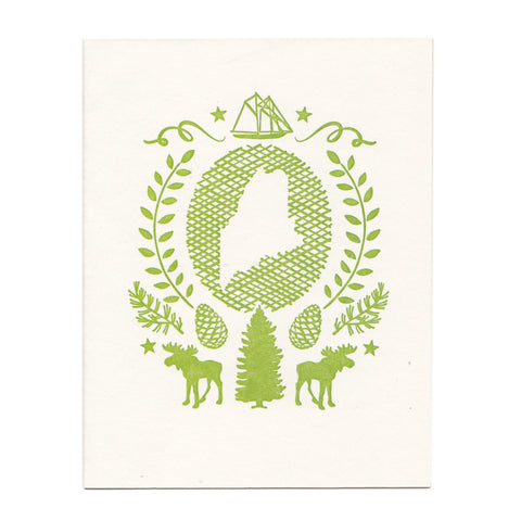Maine State greeting card, blank inside