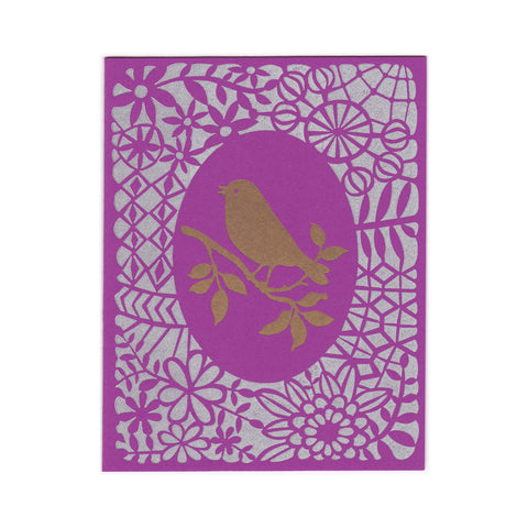 Wholesale - handmade Gold Bird greeting card, blank inside