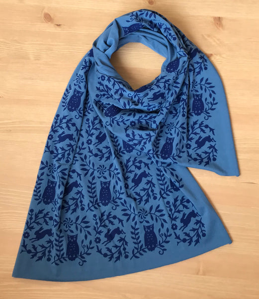 WHOLESALE - Hand-Printed Owl Scarf - Teal Blue - MES-0044