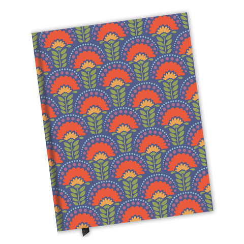 Blank Lined Journal - Orange Flower Arches Pattern