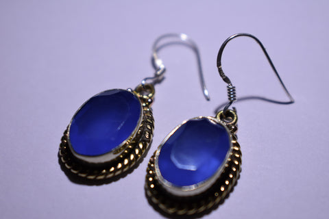 Blue Chalcedony Oval Faceted Cut .925 Sterling Silver Earrings 1 1/2""