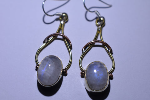 White Oval Cabochon Cut .925 Sterling Silver Earrings 1 1/2""