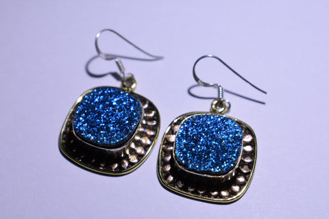 Blue Druzy Square Faceted Cut .925 Sterling Silver Earrings 1 1/2""