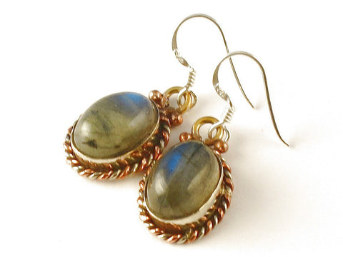 Design 112570 Exotic Oval Labradorite .925 Sterling Silver Jewelry Earrings 1 1/2""