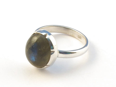 Design 113120 Made By Hand Oval Labradorite .925 Sterling Silver Jewelry Ring Size 6