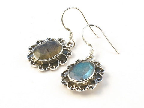 Design 113346 Handcrafted Oval Labradorite .925 Sterling Silver Jewelry Earrings 1 1/2""