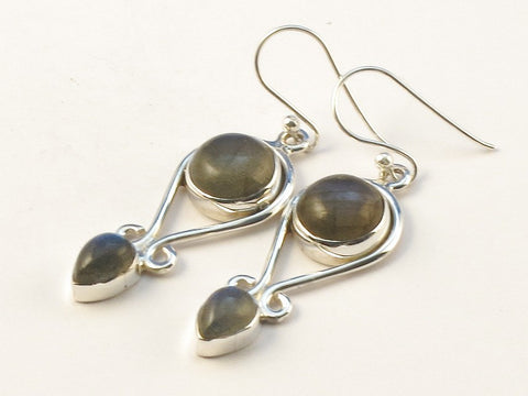 Design 113348 Jewelry Shop Round Labradorite .925 Sterling Silver Jewelry Earrings 1 1/2""
