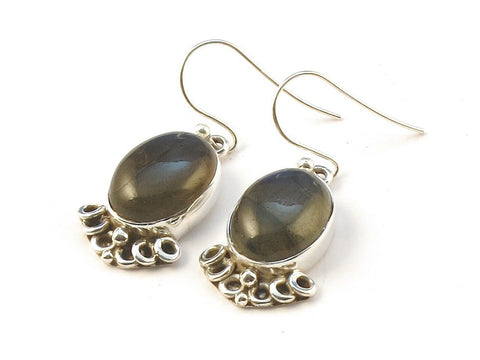 Design 113422 Exotic Oval Labradorite .925 Sterling Silver Jewelry Earrings 1 1/4""