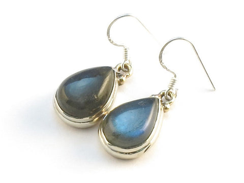 Design 113765 Handcrafted Pear Labradorite .925 Sterling Silver Jewelry Earrings 1 1/4""