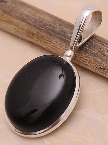 Black Onyx .925 Sterling Silver Jewelry Pendant 1.50''
