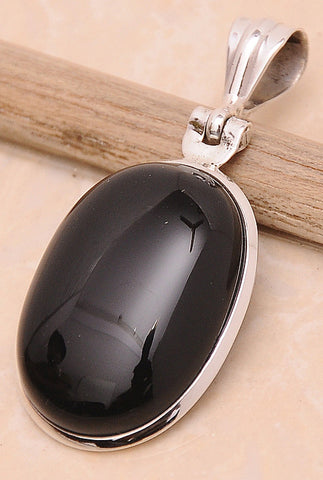 Black Onyx .925 Sterling Silver Jewelry Pendant 1.6""