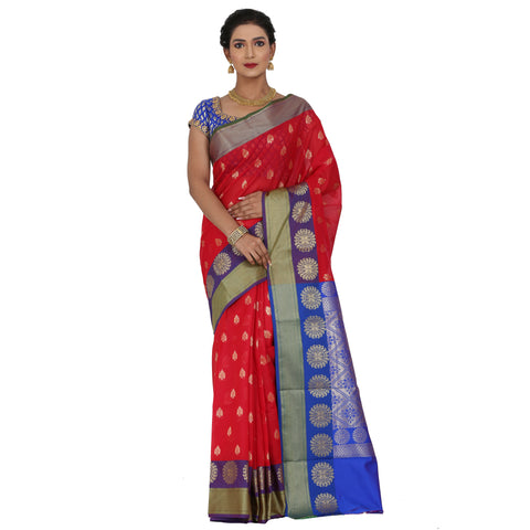 Red Color Chanderi Silk Saree with all over golden buta highlighted zari  work with Border