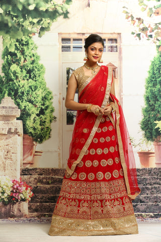 UNSTITCH RED COLOUR VELVET LEHENGA WITH ALL OVER ZARI EMBROIDERY