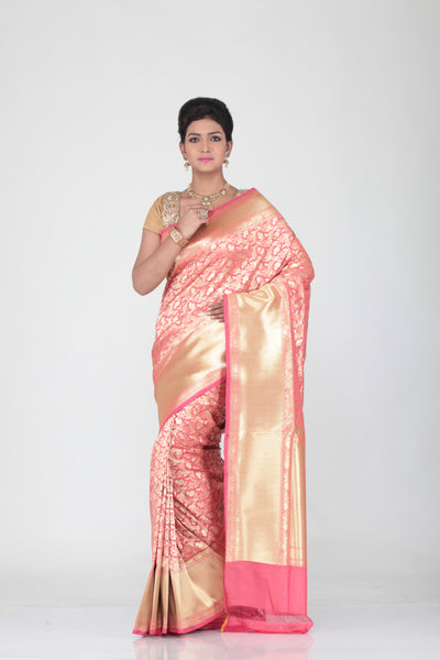 SELF OPARA KATAN SILK SAREE WITH SELF GOLDEN BORDER AND PALLU