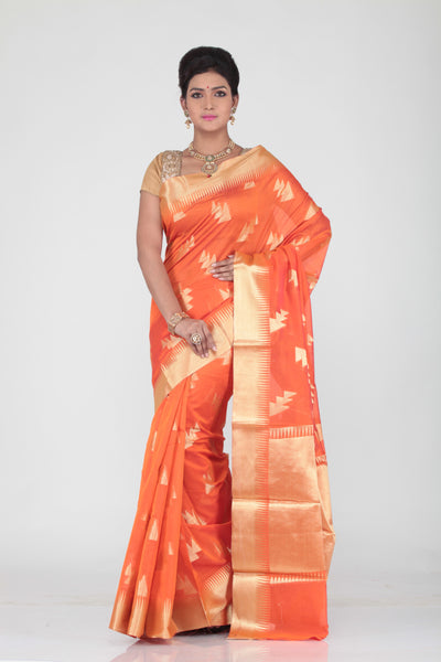 ORANGE COLOUR CHANDERI SILK SAREE WITH GOLDEN WORK