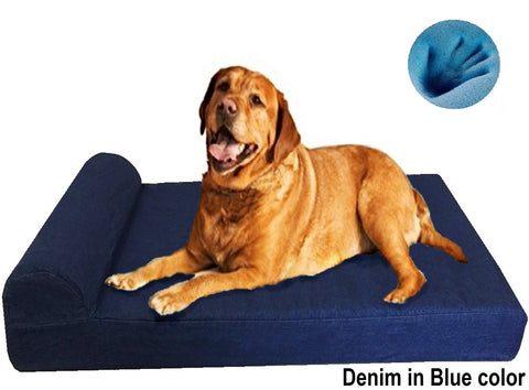 Head Rest Memory Foam Dog Bed - 3 Sizes in 9 Colors