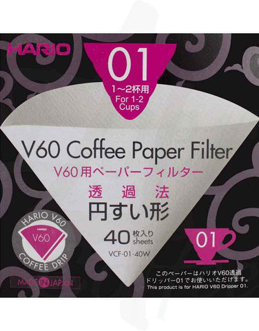 Hario V60 01 Paper Filters - 40x - Coffee - Meebz Coffee