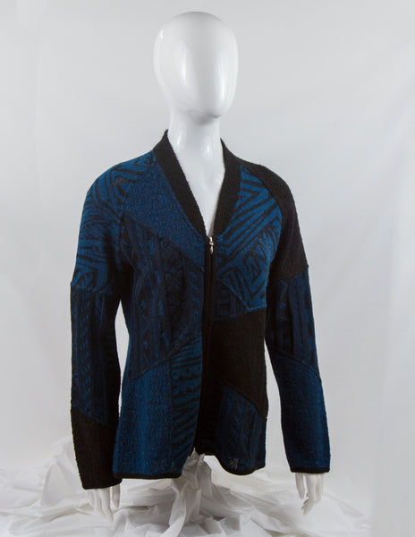 Patterned Boucle Alpaca Cardigan