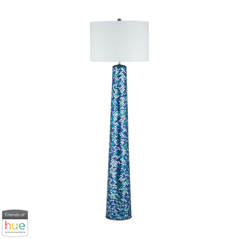 Beautiful Dimond Lighting  Aphrodisia Floor Lamp - with Philips Hue LED Bulb/Dimmer  in  Linen, Mosaic Glass