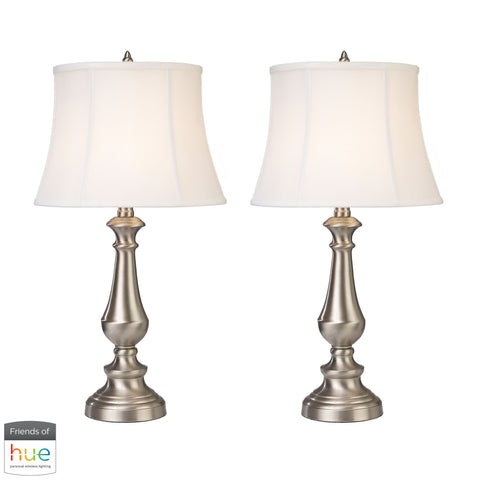 Beautiful Dimond Lighting  Trump Home Fairlawn Table Lamps in Nickel - Set of 2 - with Philips Hue LED Bulb/Bridge  in  Metal