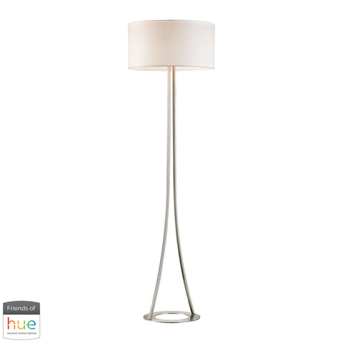 Beautiful Dimond Lighting  Alder 2-Light Floor Lamp in Brushed Nickel - with Philips Hue LED Bulb/Bridge  in  Metal