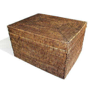 Rectangular Storage Basket with Removable Lid 18.5x15x11.5