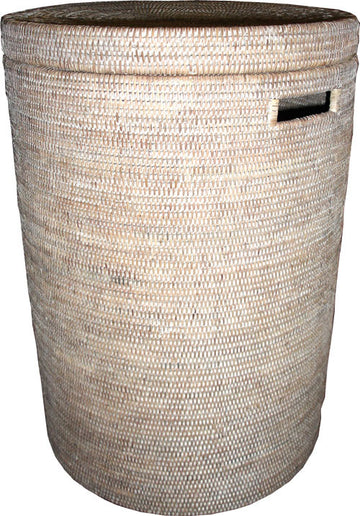 Round Laundry Hamper (Large) - White Wash - Blue Rooster Trading