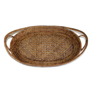 Oval Tray with Open Handles - Antique Brown - Blue Rooster Trading