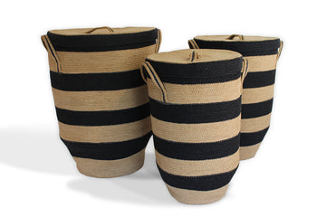Round Hamper with Tapered Bottom Set of 3 - Black/Natural Jute - Blue Rooster Trading