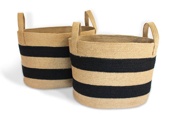 Oval Laundry Tote Baskets w/ Loop Handles Set of 2 - Black/Natural Jute - Blue Rooster Trading