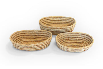 Jute Oval Tray Set of 3 - Bleached White - Blue Rooster Trading
