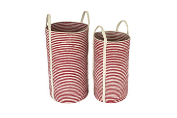 Jute Tall Round Laundry Baskets w/ Long Handles Set of 2 - Red/Bleach White Mini Stripe - Blue Rooster Trading