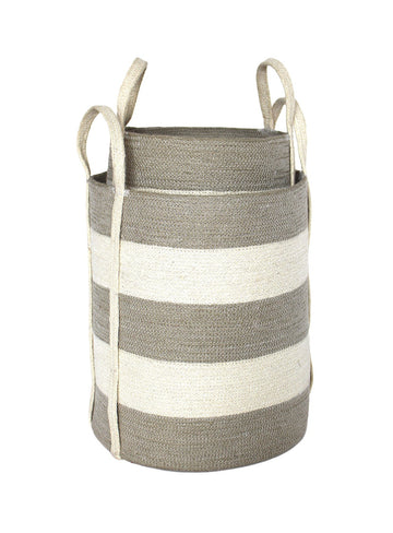 Jute Round Laundry Baskets w/ Long Handles Set of 2 - Silver Grey/Bleach White Wide Stripe - Blue Rooster Trading