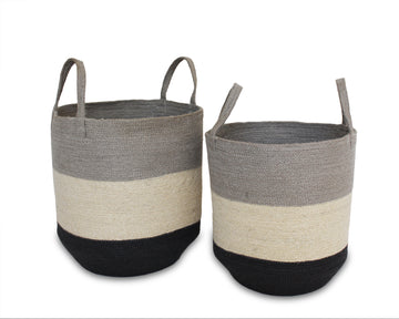 Set of Two Jute Round Baskets - Silver Grey/Bleach White/Dark Grey - Blue Rooster Trading