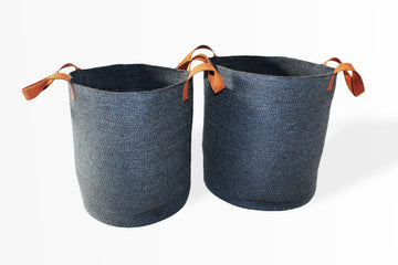Set of Two Jute Round Laundry Baskets w/ Brown Leather Handles - Dark Grey - Blue Rooster Trading